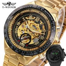 Winner Watch Men Skeleton Automatic Mechanical Watch gold skeleton vinta... - $47.99