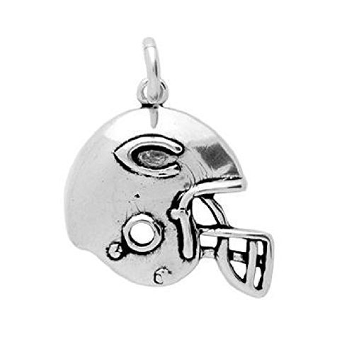 925 Sterling Silver Nickel Free Charms for Charm Bracelets (Football Helmet)