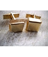 VINTAGE SQ TEXTURED GOLD TONE CUFFLINKS W/PAT PEND 2,974,381 ENGRAVED ON... - $7.99