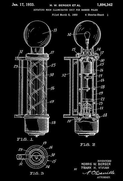 Primary image for 1933 - Rotating Neon Illuminated Unit For Barber Poles - M. Berger Patent Poster