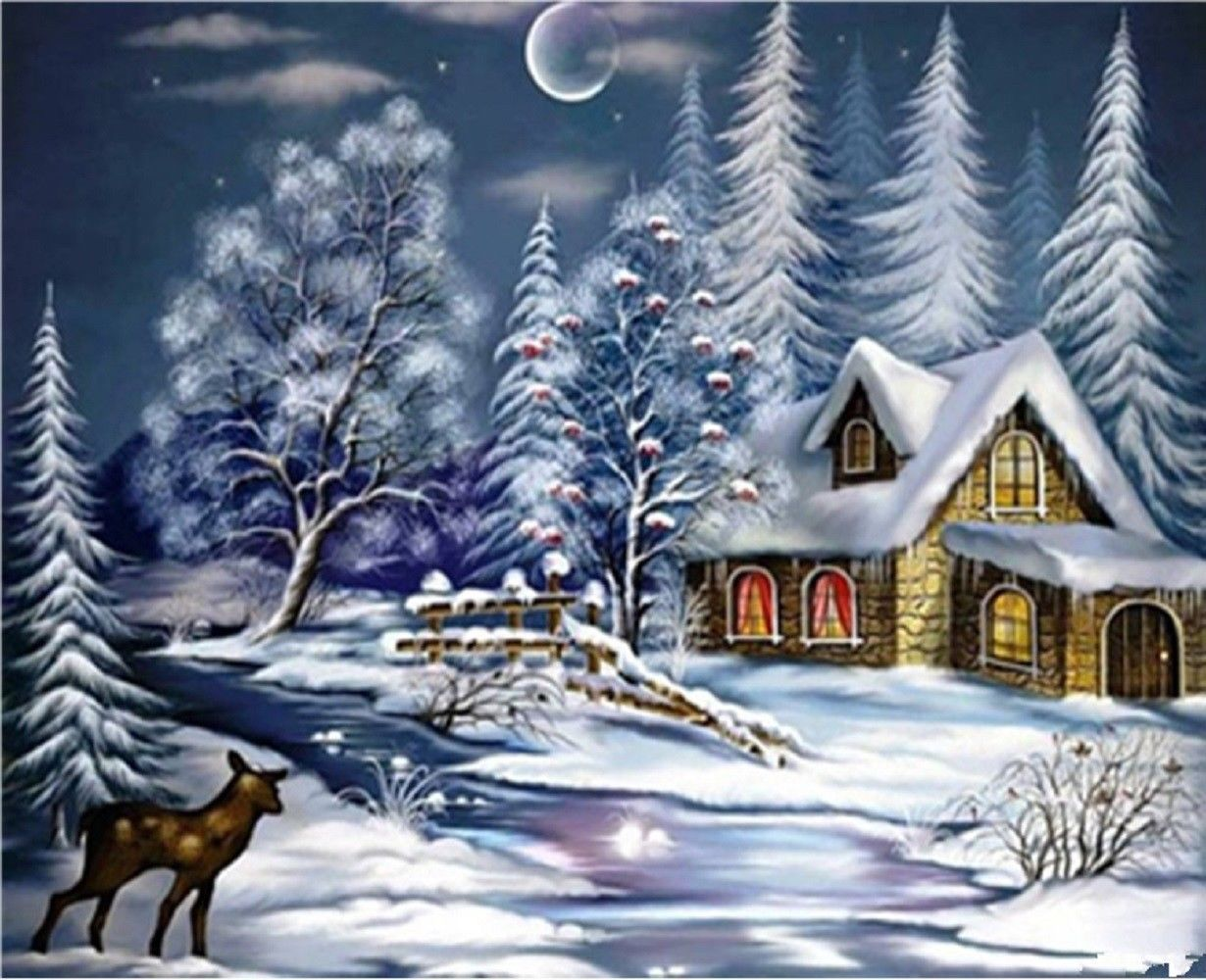 """Winter Night 16X20"""" Paint By Number Kit DIY Acrylic Painting on Canvas Frameless"""