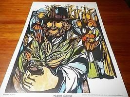 1963 Vintage Children's Print Pilgrim Harvest Roger H. Martin - $7.92