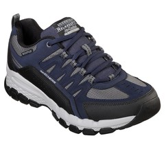 Skechers Navy shoe Men Memory Foam leather Sport Casual Comfort Trail Hi... - $49.79