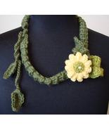 English Garden Handmade Crocheted Floral Necklace - $16.00