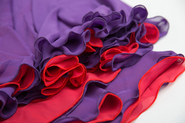 Floor Length Chiffon Maxi Skirt Purple Red Maxi Chiffon Skirt with Belt Outfit image 6