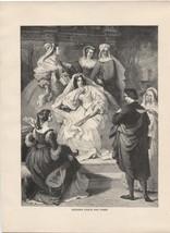 Leonora d'Este & Tasso. von Kaulbach. Antique 1892 Wood Engraving Print ... - $12.00