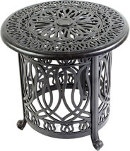 Patio end table cast aluminum Ice bucket insert round Elisabeth side furniture image 6