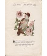 Elizabeth Gordon's Bird Children: Brown Thrasher. M.T.Ross 1912 lithogra... - $13.71