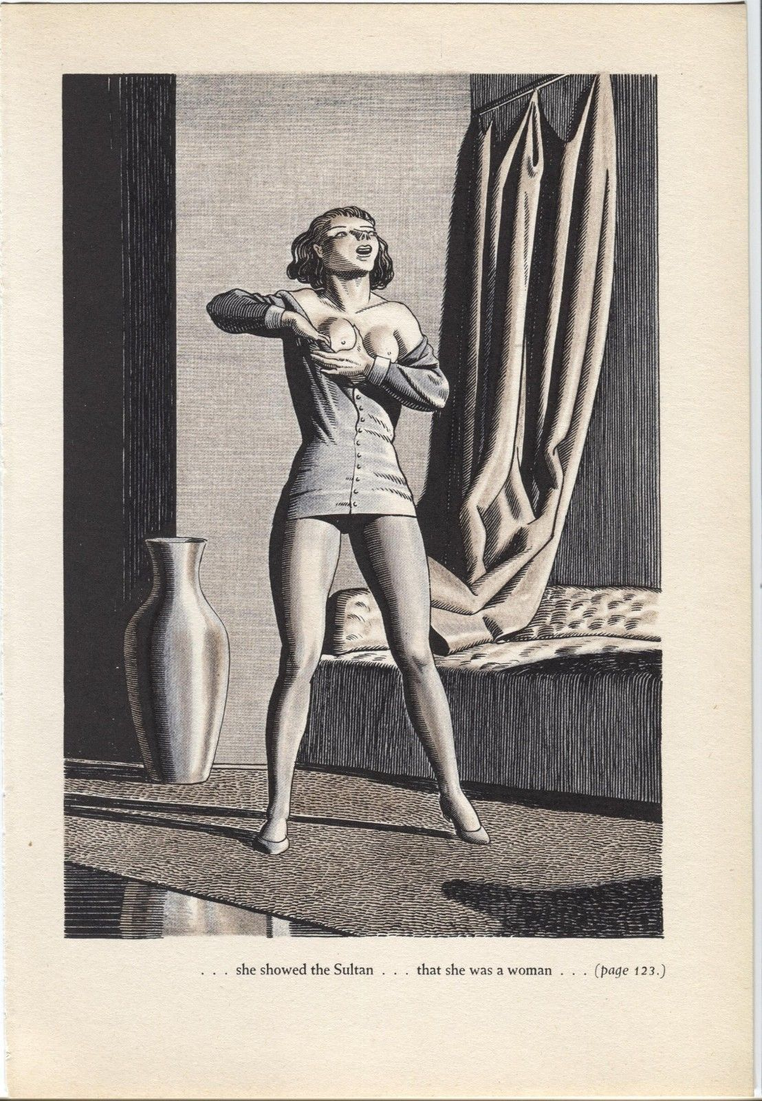 "Primary image for Rockwell Kent ""..showed that she was a woman"", The Decameron. Vintage 1949 print"