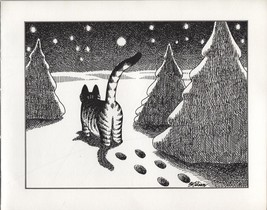 Kliban Cat, Winter Snow. Vintage 1981 print. 9 x 11 - $12.00