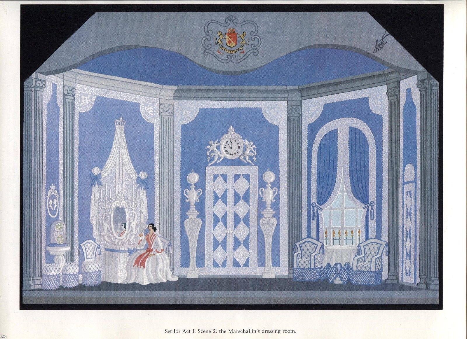 Erte, Dressing Room, Der Rosenkavalier set design. Vintage 1980 Art Deco print