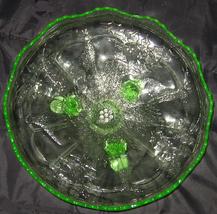 Glass Center Bowl Vaseline Large Fenton Pattern Holly - $274.99