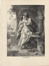 Alexis and Dora. von Kaulbach. Antique 1892 wood engraving print. - $15.79