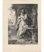 Alexis and Dora. von Kaulbach. Antique 1892 wood engraving print. - $15.79