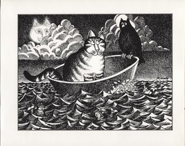 Kliban Cat Boating with a Bird, Kliban CatFish. Vintage 1981 print. 9 x 11 - $12.00