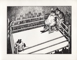 Kliban Cats. Boxing Cat & Mouse. Vintage 1981 print. 9 x 11 - $15.79
