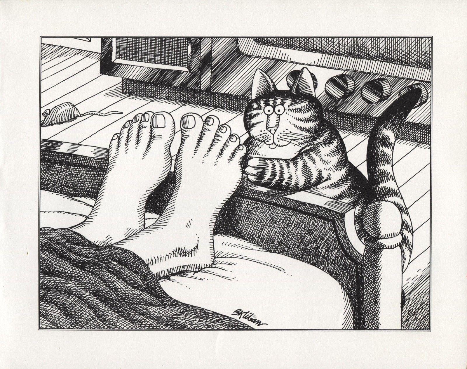 Kliban Cats. Tickle, Tickle! Vintage 1981 print. 9 x 11