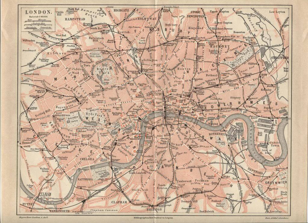 Map: London. Antique German 1888 print.