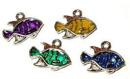 Epoxy Enameled Tropical Fish Fine Pewter Charm 17mm L x 14mm W x 3mm D image 1