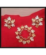 Sarah Coventry Two Tone Leaf Wreath Brooch Pin & Clip on Earring Set - $24.75