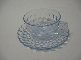Light Blue Bubble Anchor Hocking Cup and Saucer 40,50,60's Glassware - $7.99