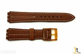 18mm Uomo Marrone pelle W/Bianco Cuciture Fascia Cinturino per Swatch Orologi - $18.77