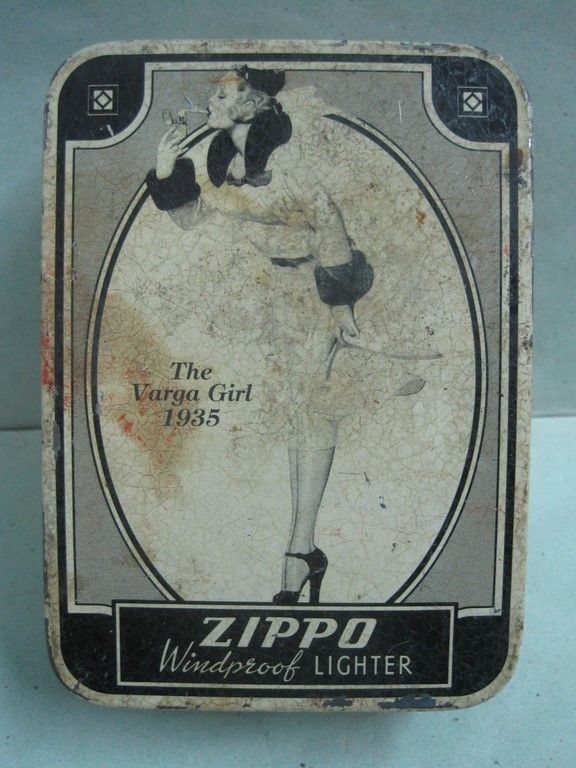 Primary image for Antique advertising tin box ZIPPO THE VARGA GIRL 1935 COLLECTIBLE empty