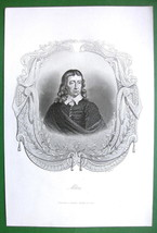 JOHN MILTON English Poet - Antique Print with Ornamental Border - $4.73