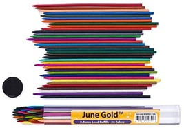 June Gold 36 Coloured Lead Refills, 2.0 mm Extra Bold, 90 mm Tall, Pre-S... - $8.87