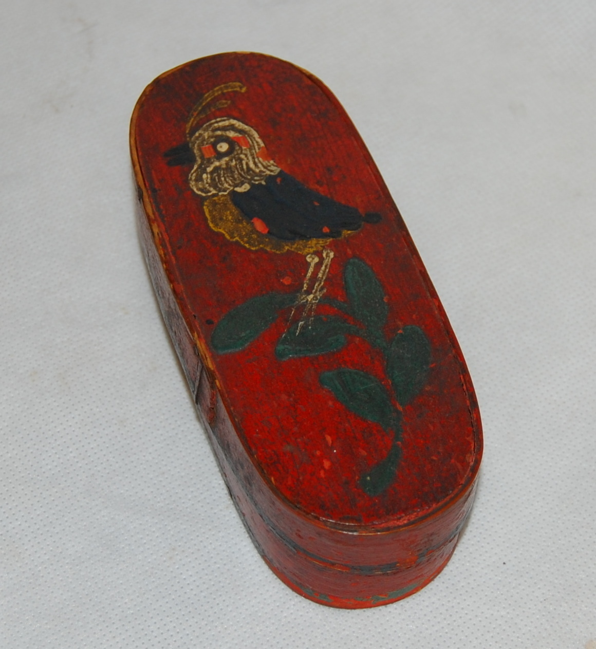 French Red Painted Bird On Plant Antique Wood Band Box