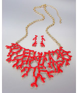 UNIQUE Red Lacquer Enamel Coral Motif Metal Drape Necklace Set - £27.03 GBP