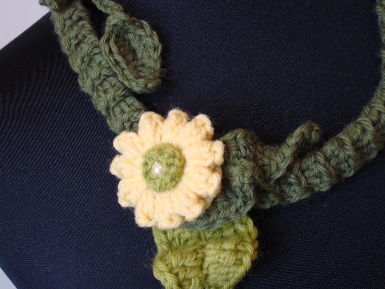 English Garden Handmade Crocheted Floral Necklace