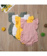 Summer Newborn Baby Girls Ruffle Solid Romper Jumpsuit Clothes new born ... - $10.39