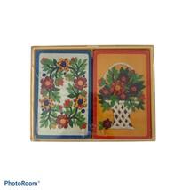 Vintage Hallmark Bridge Playing Cards Floral Applique with case - $7.80