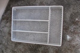 """metal tray w/white rubberized(?) coating for flatware 14.5 x 10.5 x 2"""" - $7.70"""
