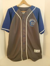 Chicago Cubs Jersey MLB Dynasty Button Up Short Sleeve Away Blue Gray Mens XL - $29.99