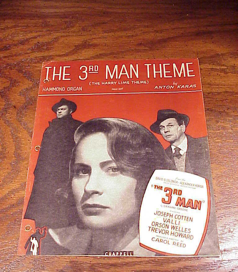 Primary image for 1949 The Third Man Movie Sheet Music, for the Hammond Organ, by Anton Karas