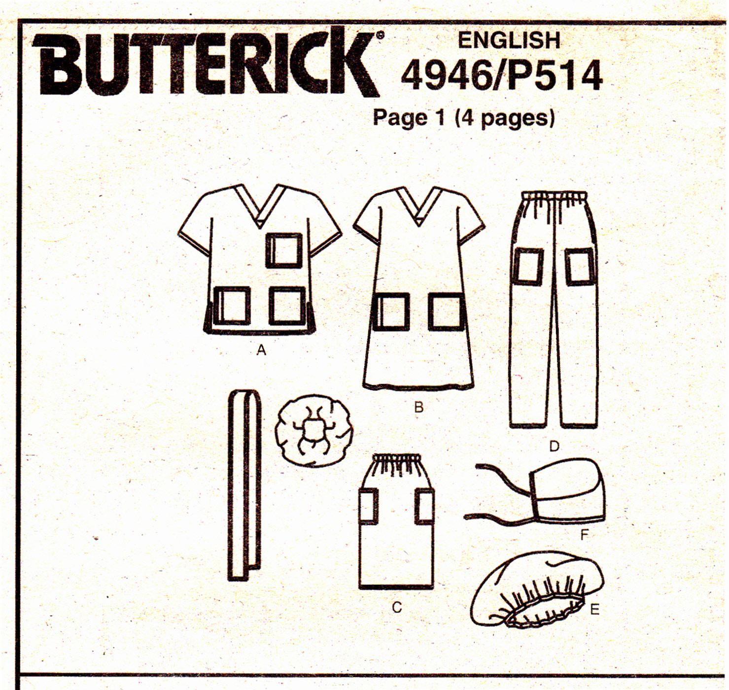 Butterick 4946 Scrubs Uniforms Unisex Sewing Pattern Dress Pants Top Sizes L-XL