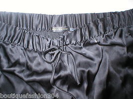 New NWT $195 Medium Designer Josie Natori Silk Pants Black Key Crop Capri Lounge image 3