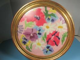 Vtg Needlepoint Flowers Red Lavender  Round Gilded Frame - $42.08