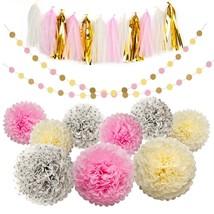 Tissue Pom Poms Paper flowers Tissue Tassel Paper Garland Pink Cream Gli... - $311,18 MXN
