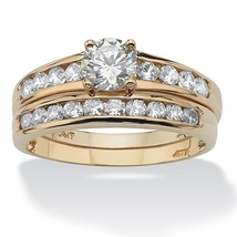 1.06 TCW CZ 10k Yellow Gold 2-Piece Channel Bridal Ring Set - $279.82