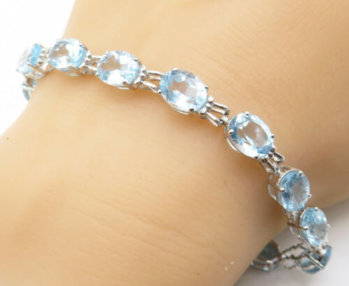 925 Sterling Silver - Oval Cut Faceted Aquamarine Shiny Chain Bracelet - B4224