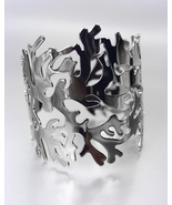 UNIQUE Antique Gun Metal Coral Motif Cuff Bracelet - $16.59 CAD