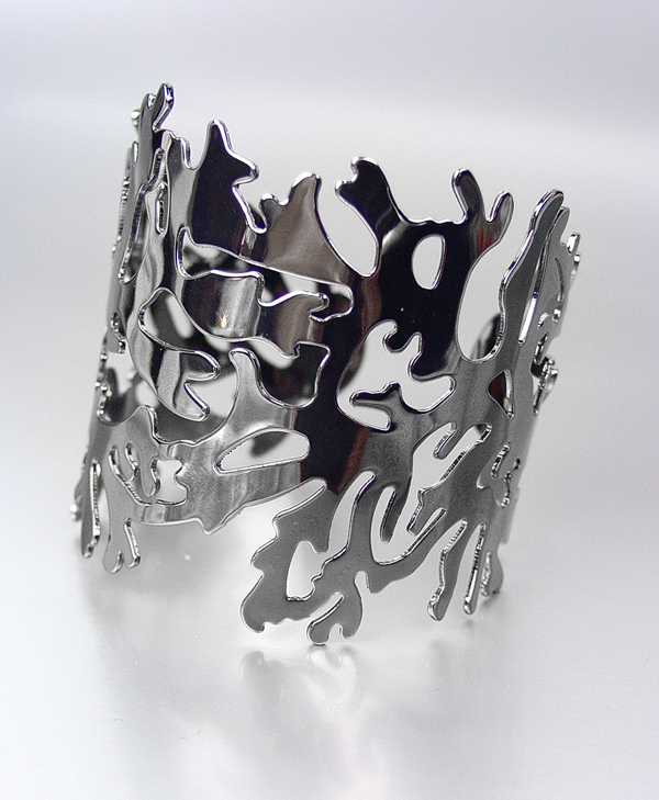 UNIQUE Antique Gun Metal Coral Motif Cuff Bracelet