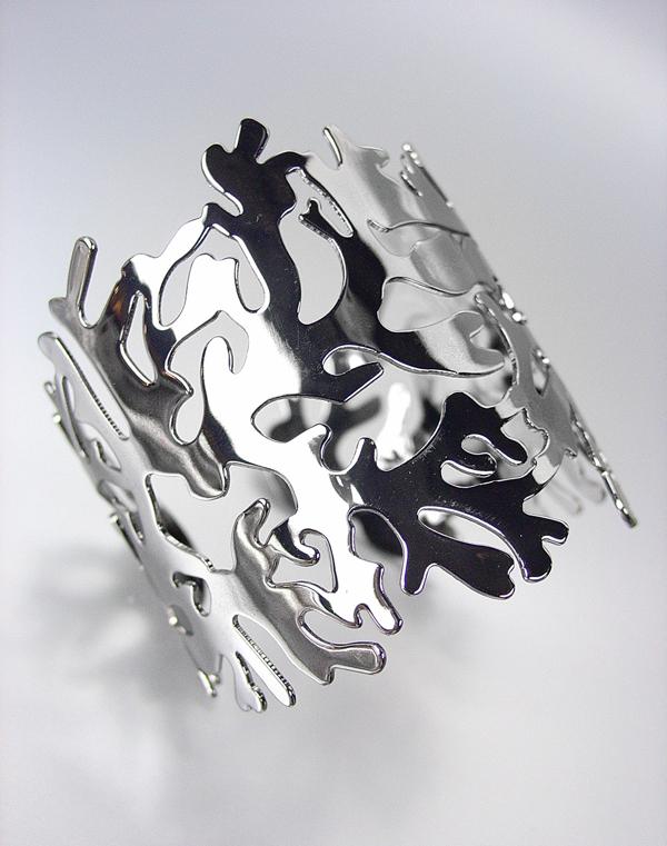 UNIQUE Antique Gun Metal Coral Motif Cuff Bracelet