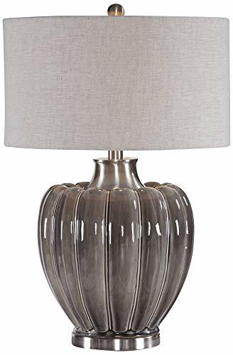 Uttermost Adler Smoky Gray Glaze Ceramic Table Lamp