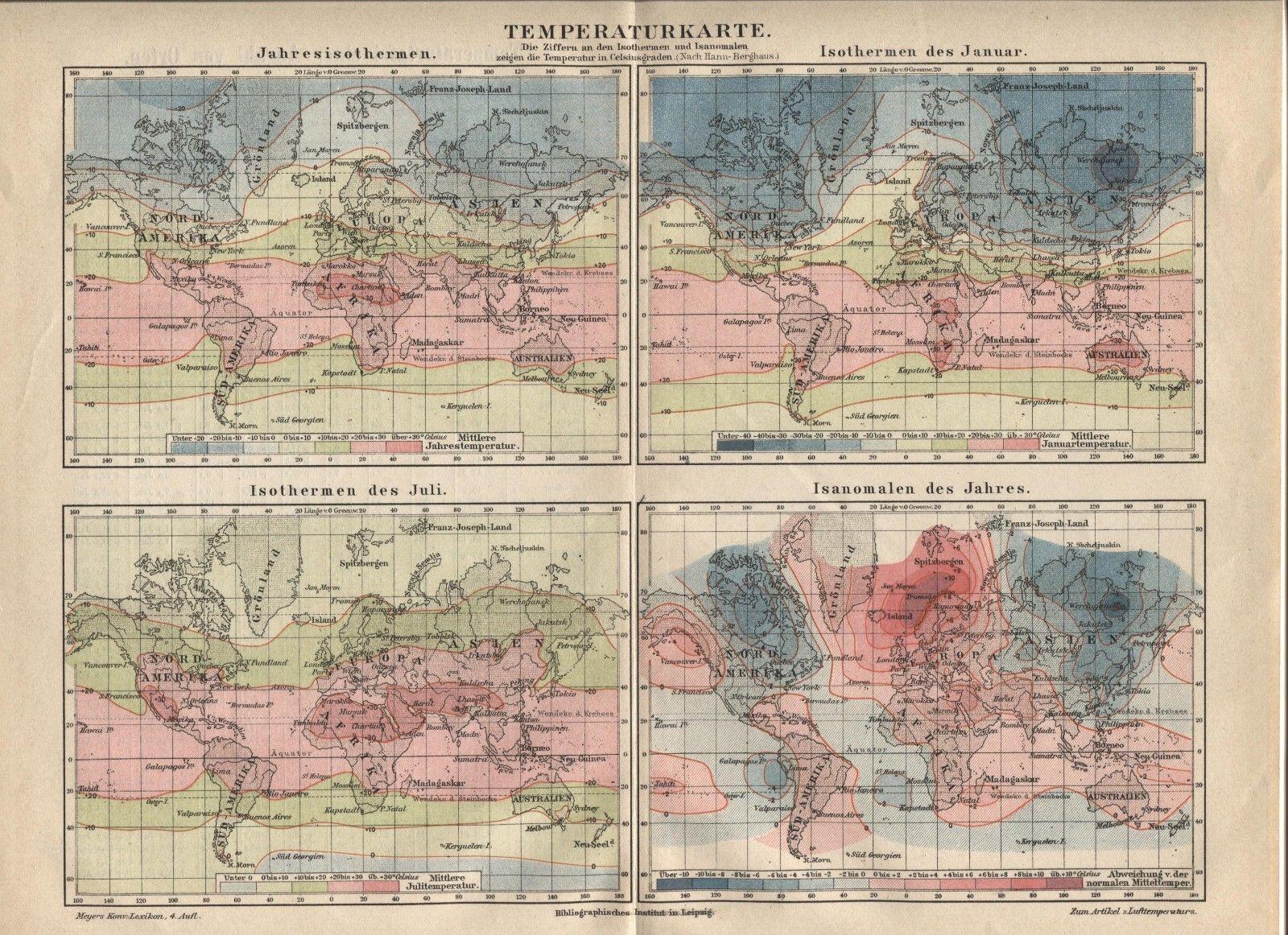 "Temperature map, Isothermals (""Temperaturkarte""). Antique German 1888 print."