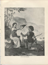 Frithiof and Ingeborg. Bendemann. Antique 1892 typogravure print. - $12.00