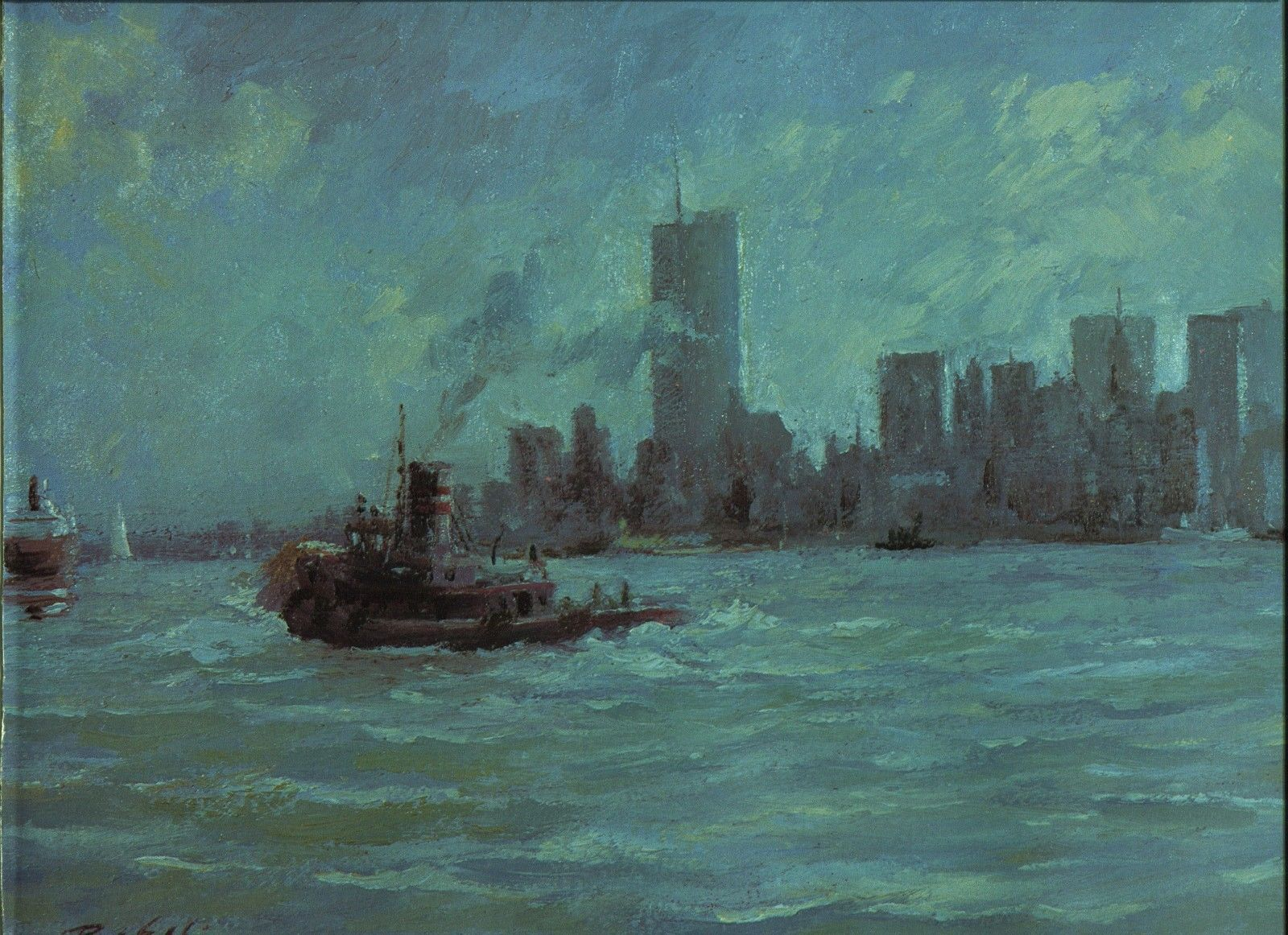 Ray Ellis. New York Harbor. 1986 print 12 X 15